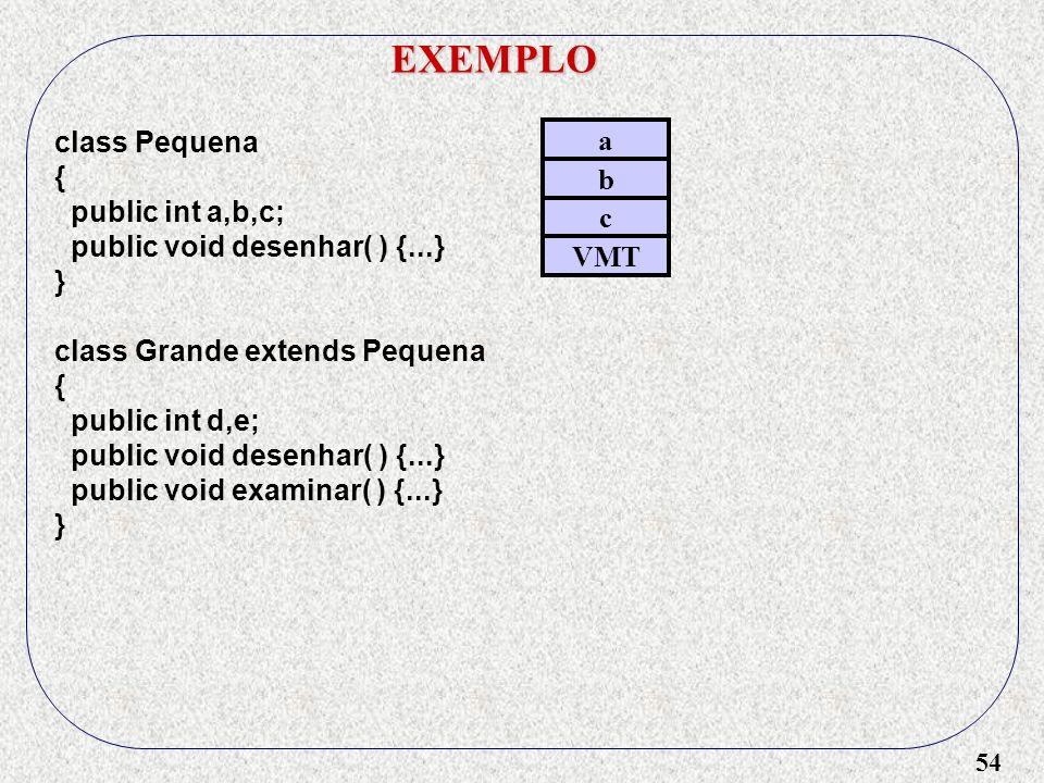 EXEMPLO class Pequena a { public int a,b,c; b