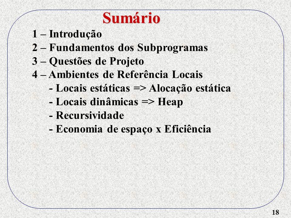 Sumário 1 – Introdução 2 – Fundamentos dos Subprogramas