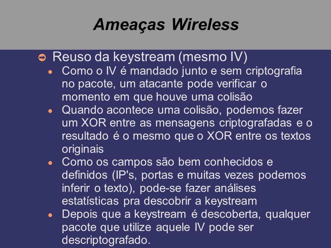 Ameaças Wireless Reuso da keystream (mesmo IV)