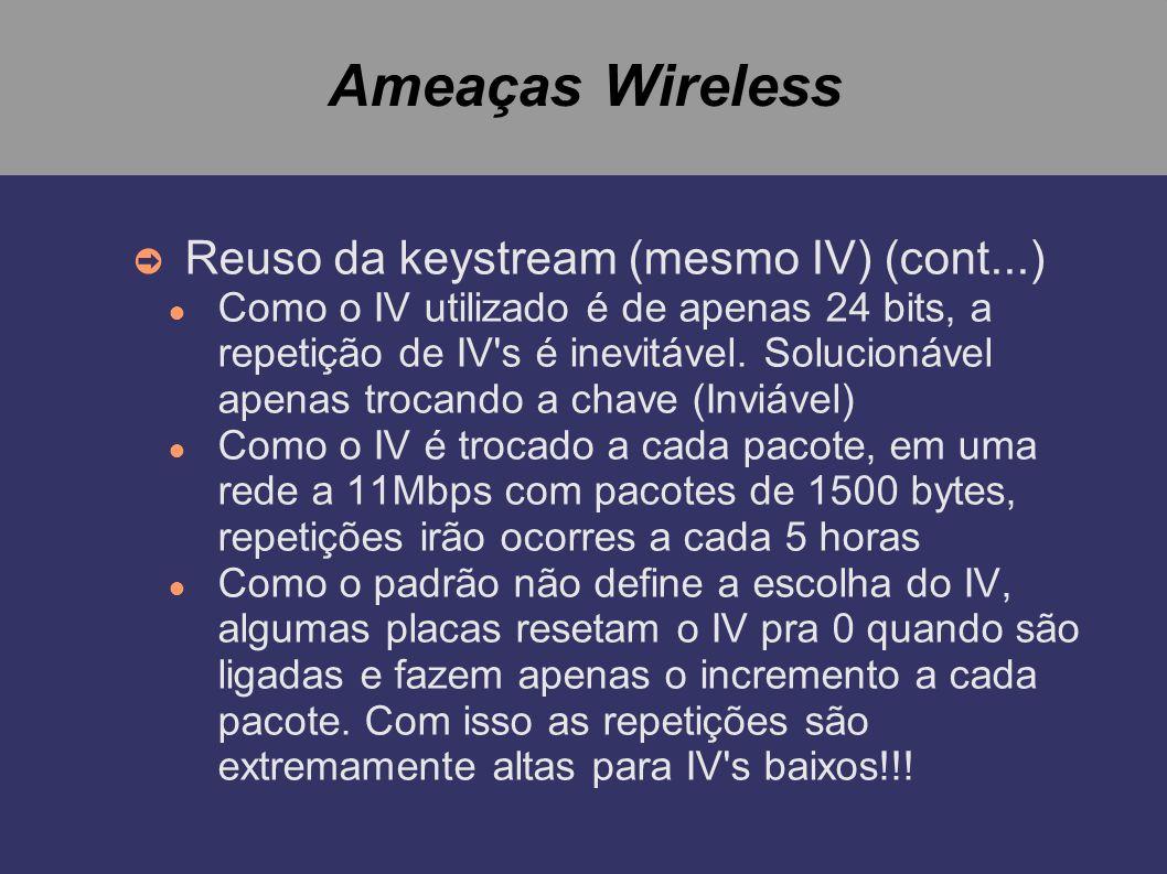 Ameaças Wireless Reuso da keystream (mesmo IV) (cont...)