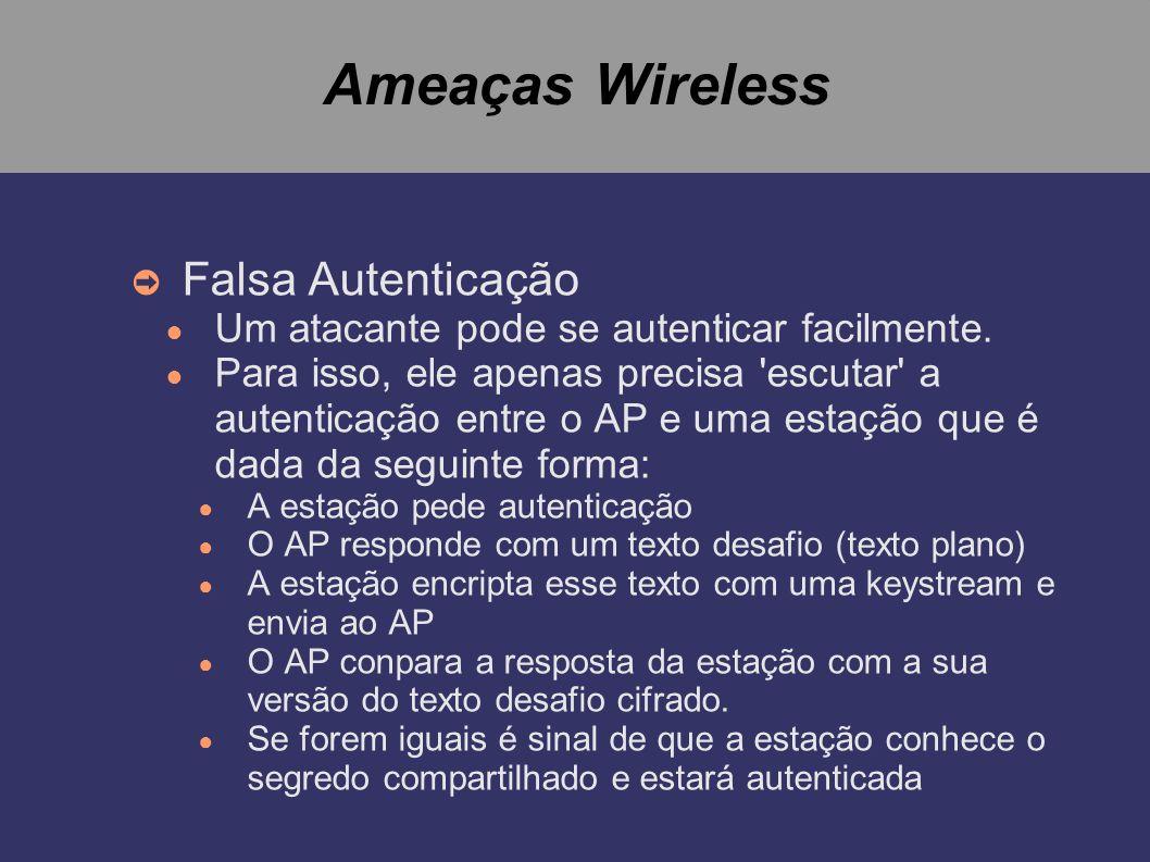 Ameaças Wireless Falsa Autenticação
