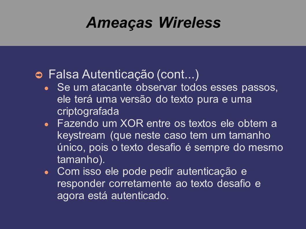 Ameaças Wireless Falsa Autenticação (cont...)