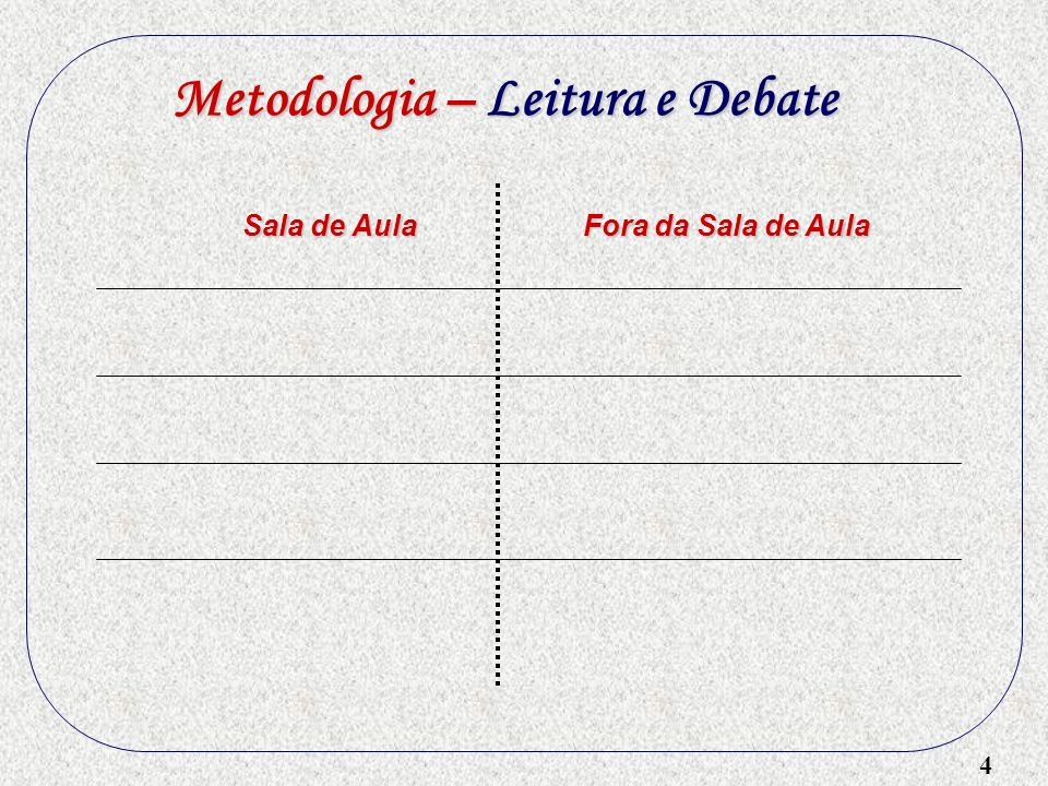 Metodologia – Leitura e Debate