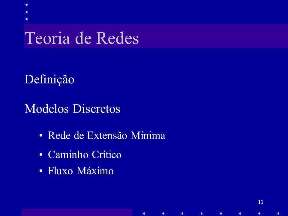 Teoria de Redes Definição Modelos Discretos Rede de Extensão Mínima