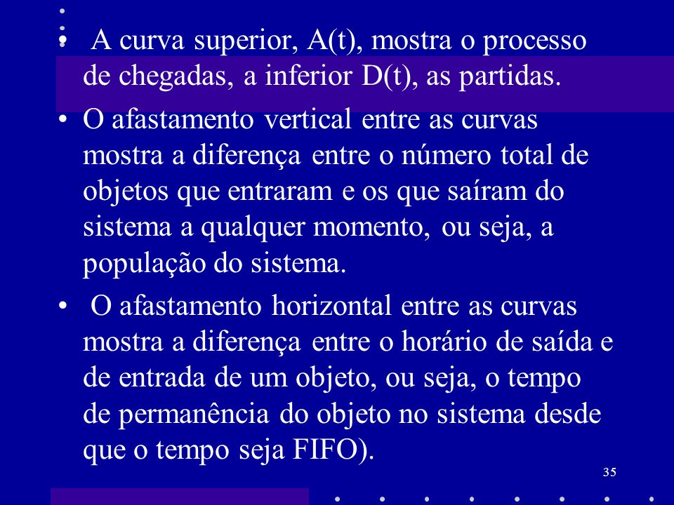 A curva superior, A(t), mostra o processo de chegadas, a inferior D(t), as partidas.