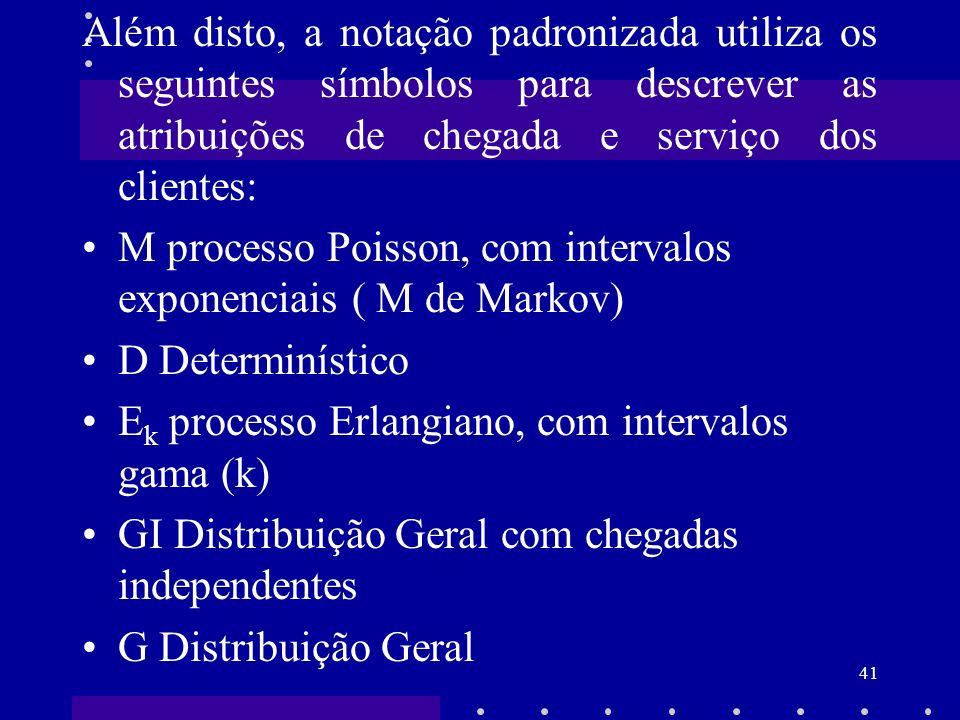 Além disto, a notação padronizada utiliza os seguintes símbolos para descrever as atribuições de chegada e serviço dos clientes: