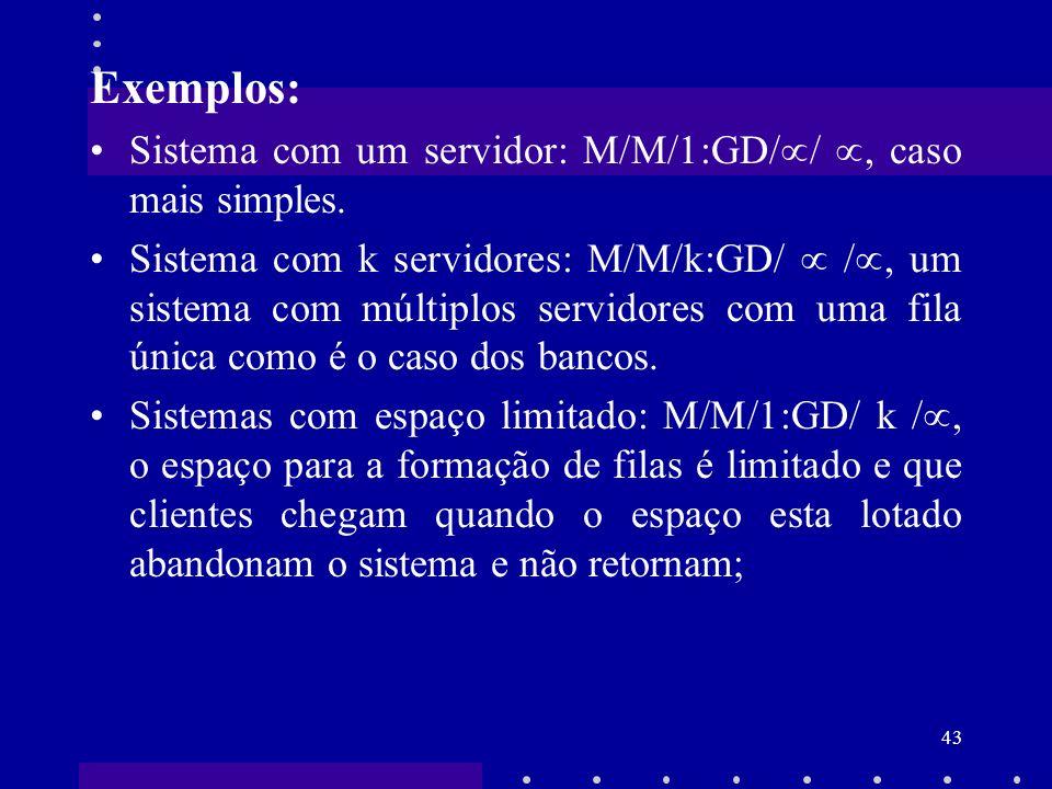 Exemplos: Sistema com um servidor: M/M/1:GD// , caso mais simples.