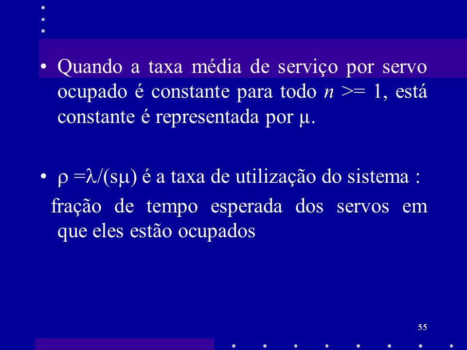 Quando a taxa média de serviço por servo ocupado é constante para todo n >= 1, está constante é representada por µ.