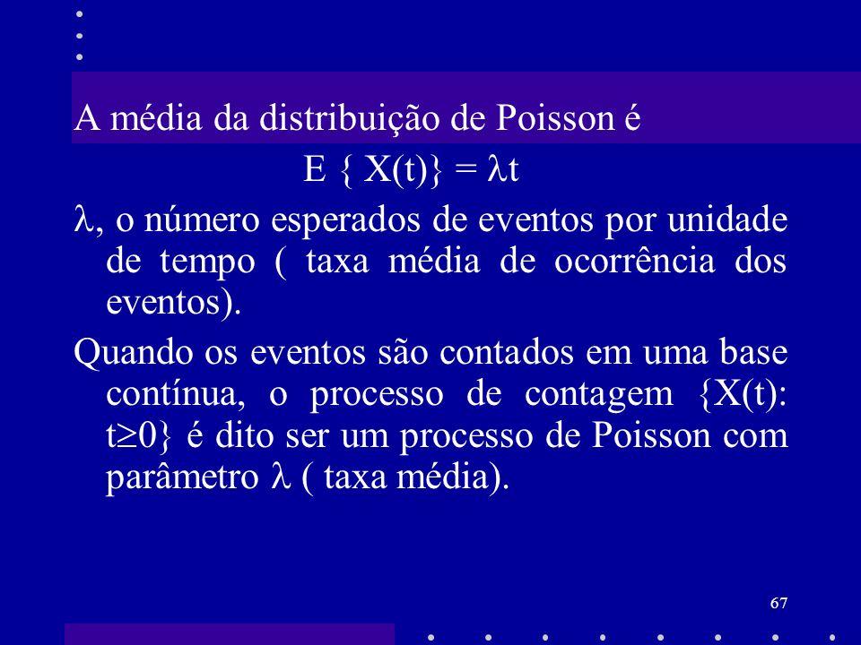 A média da distribuição de Poisson é