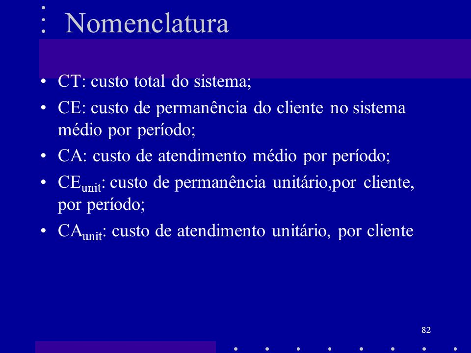 Nomenclatura CT: custo total do sistema;