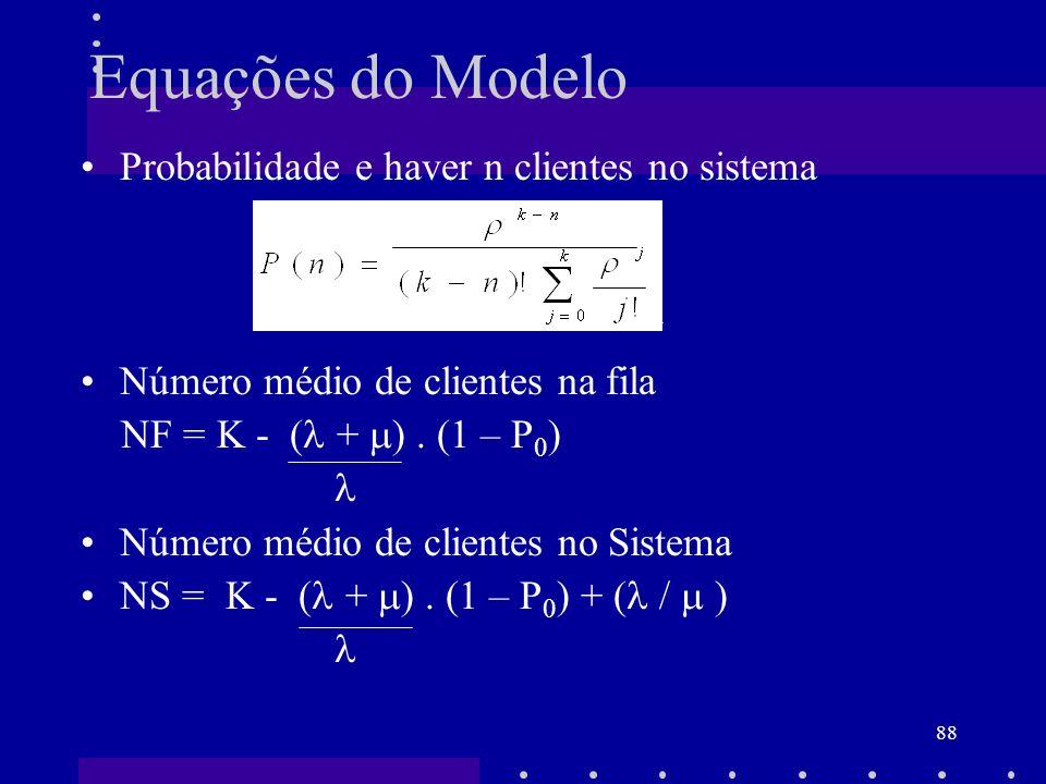 Equações do Modelo Probabilidade e haver n clientes no sistema