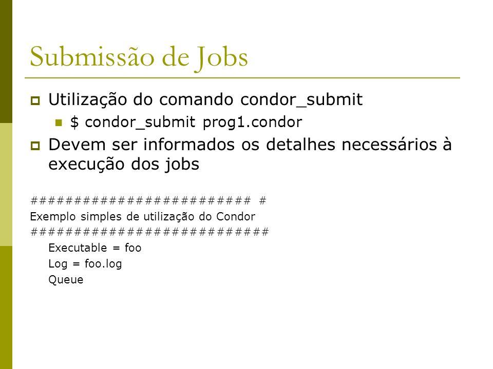 Submissão de Jobs Utilização do comando condor_submit