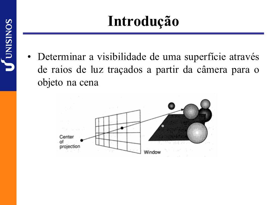 Introdução Determinar a visibilidade de uma superfície através de raios de luz traçados a partir da câmera para o objeto na cena.