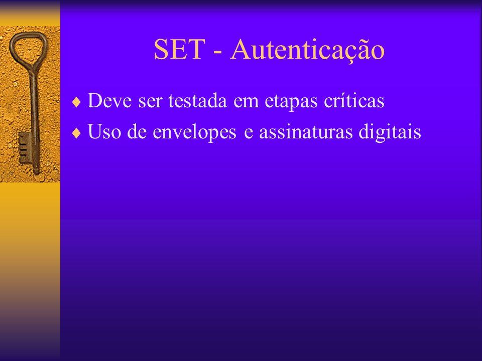SET - Autenticação Deve ser testada em etapas críticas