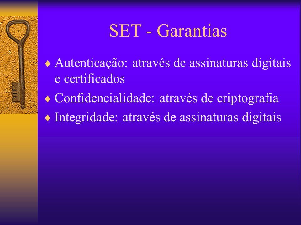 SET - Garantias Autenticação: através de assinaturas digitais e certificados. Confidencialidade: através de criptografia.