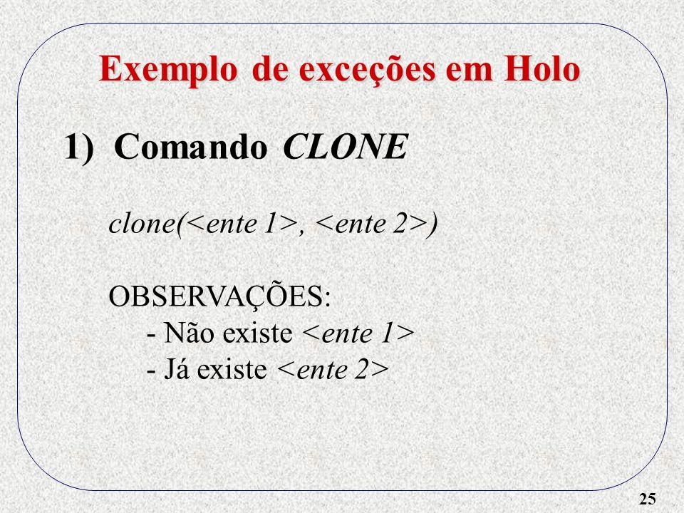 Exemplo de exceções em Holo