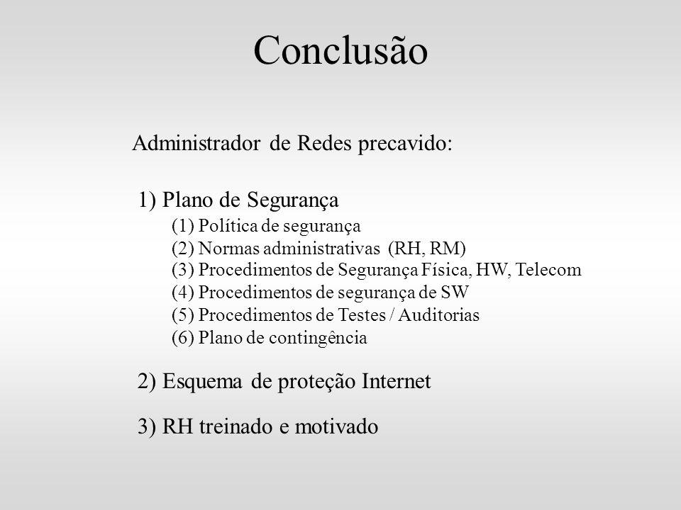 Conclusão Administrador de Redes precavido: 1) Plano de Segurança