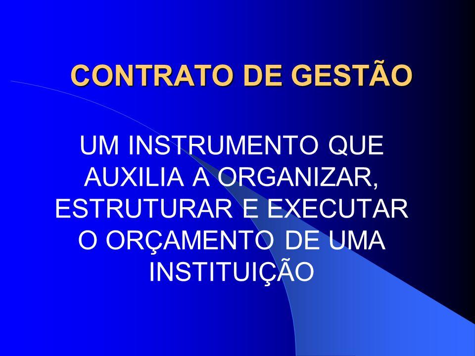 CONTRATO DE GESTÃO UM INSTRUMENTO QUE AUXILIA A ORGANIZAR, ESTRUTURAR E EXECUTAR O ORÇAMENTO DE UMA INSTITUIÇÃO.