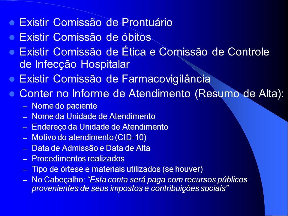 Existir Comissão de Prontuário Existir Comissão de óbitos