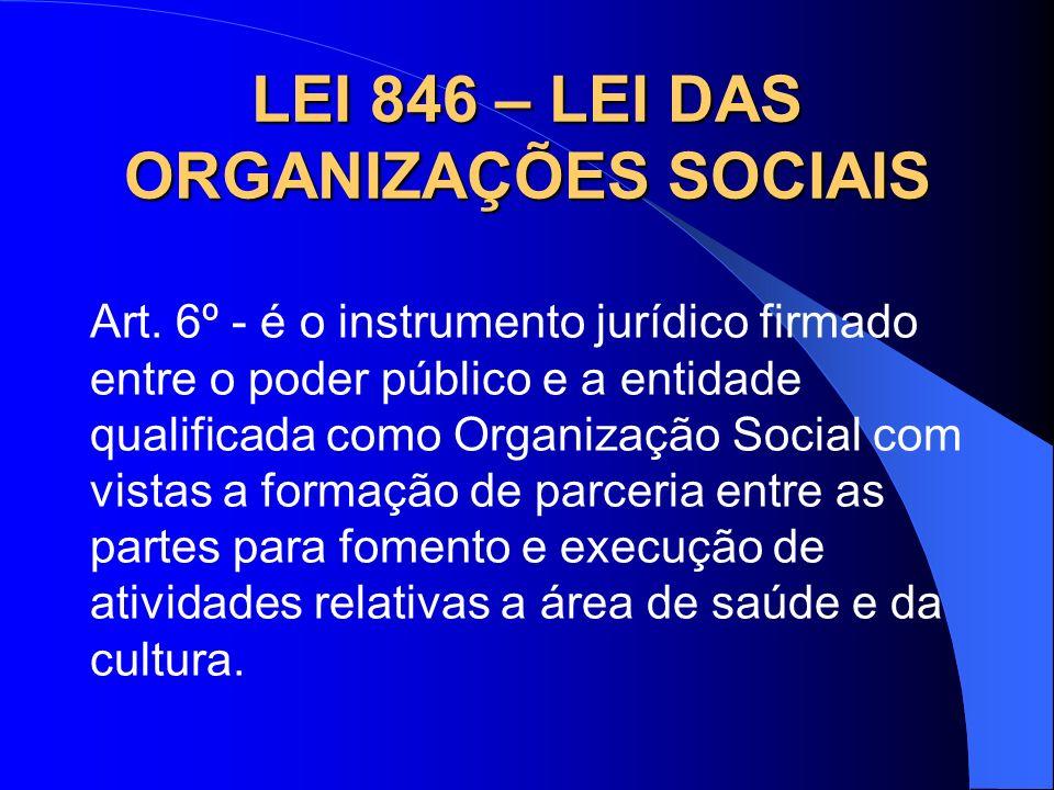 LEI 846 – LEI DAS ORGANIZAÇÕES SOCIAIS