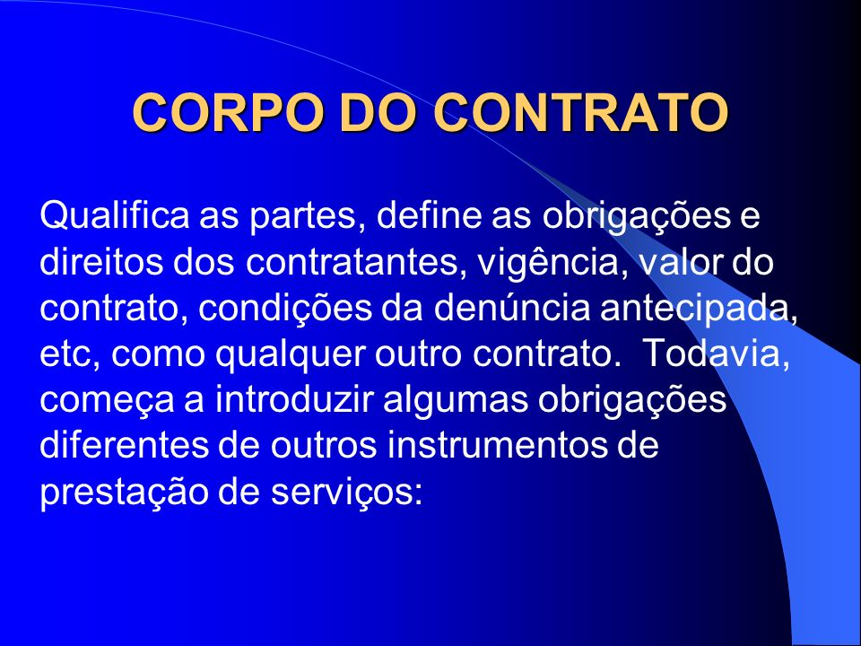 CORPO DO CONTRATO