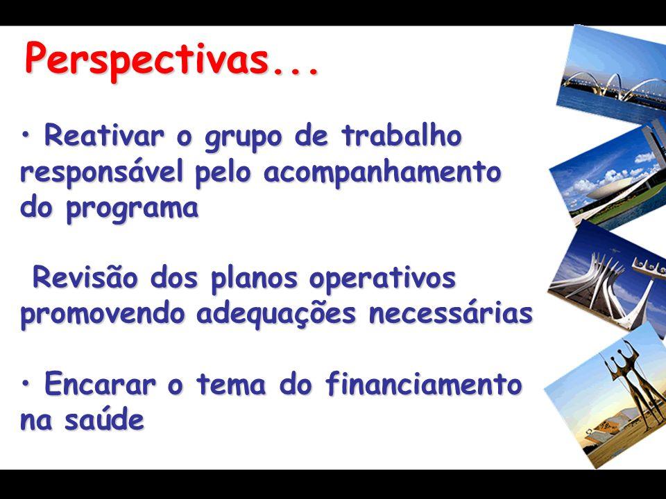 Perspectivas... Reativar o grupo de trabalho responsável pelo acompanhamento do programa.