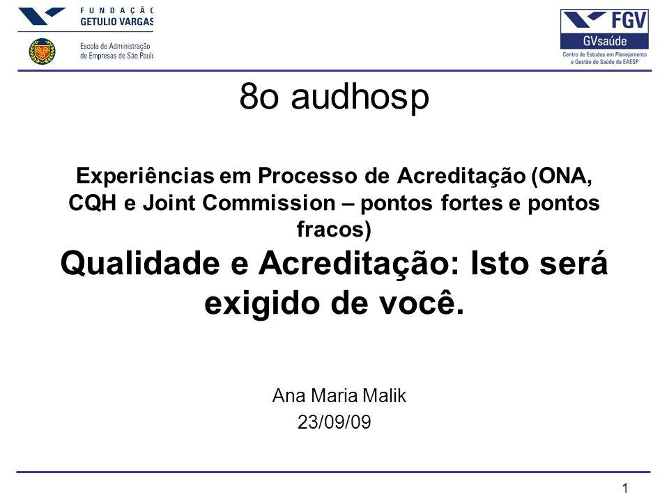 8o audhosp Experiências em Processo de Acreditação (ONA, CQH e Joint Commission – pontos fortes e pontos fracos) Qualidade e Acreditação: Isto será exigido de você.