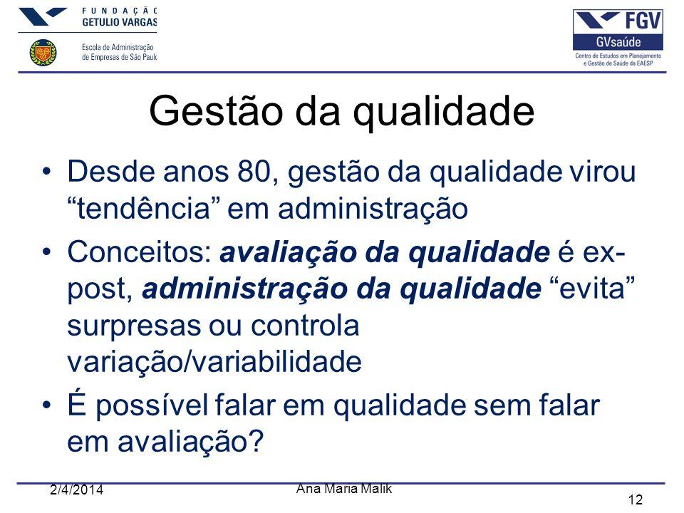 Gestão da qualidade Desde anos 80, gestão da qualidade virou tendência em administração.