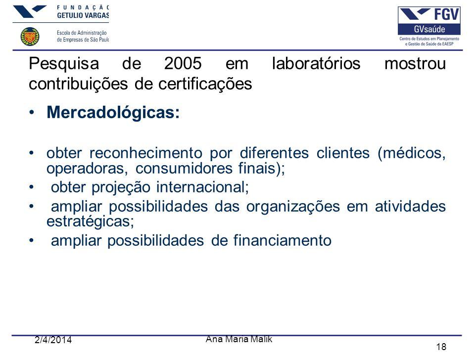Pesquisa de 2005 em laboratórios mostrou contribuições de certificações