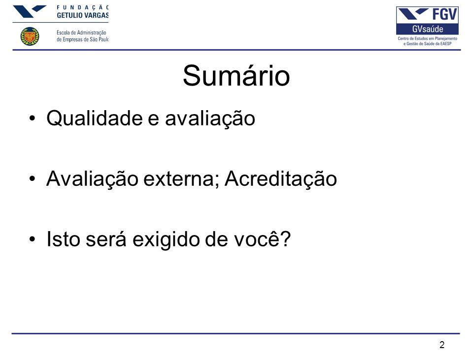 Sumário Qualidade e avaliação Avaliação externa; Acreditação