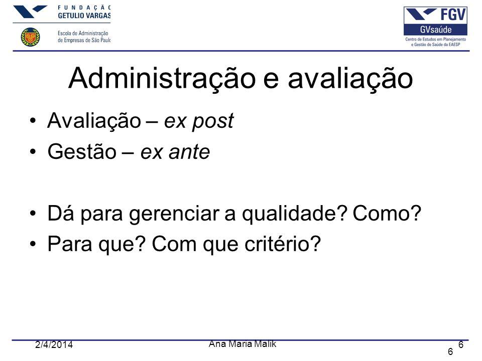 Administração e avaliação