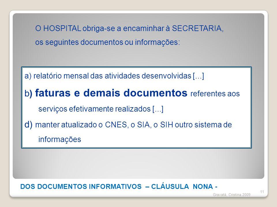 DOS DOCUMENTOS INFORMATIVOS – CLÁUSULA NONA -