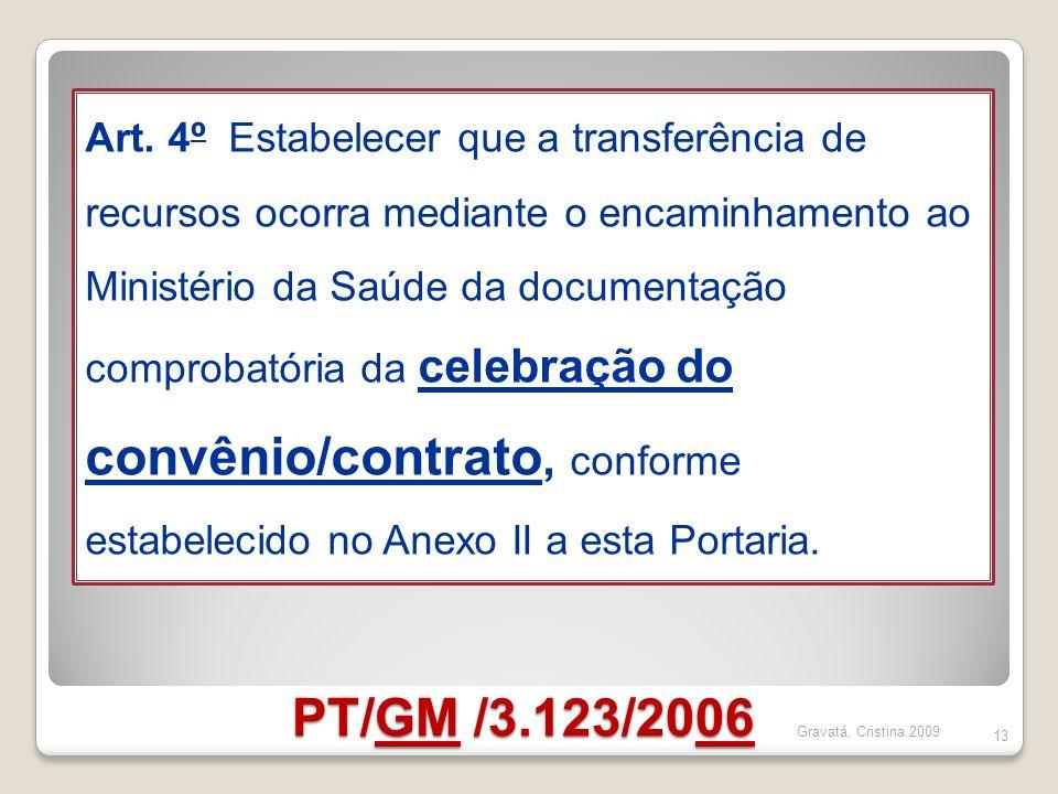 Art. 4º Estabelecer que a transferência de recursos ocorra mediante o encaminhamento ao Ministério da Saúde da documentação comprobatória da celebração do convênio/contrato, conforme estabelecido no Anexo II a esta Portaria.