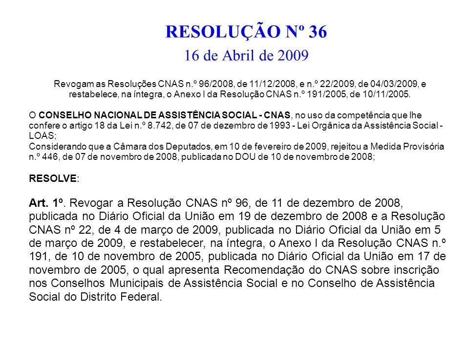 RESOLUÇÃO Nº 36 16 de Abril de 2009