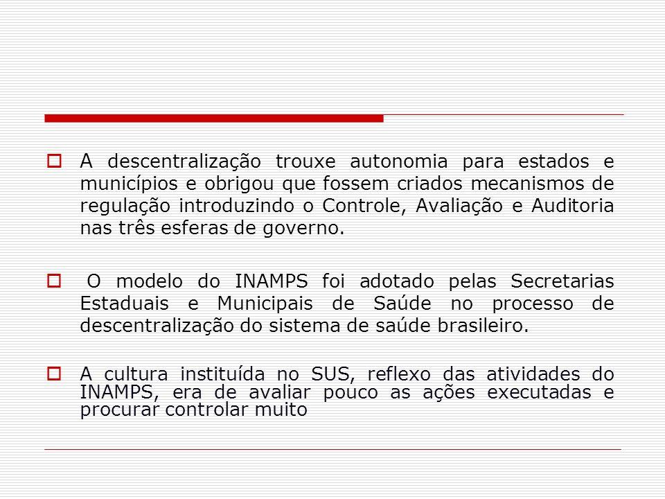 A descentralização trouxe autonomia para estados e municípios e obrigou que fossem criados mecanismos de regulação introduzindo o Controle, Avaliação e Auditoria nas três esferas de governo.