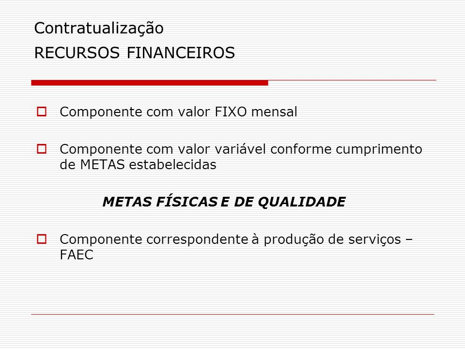 Contratualização RECURSOS FINANCEIROS