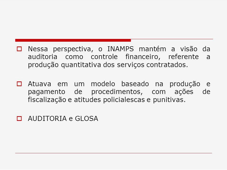Nessa perspectiva, o INAMPS mantém a visão da auditoria como controle financeiro, referente a produção quantitativa dos serviços contratados.