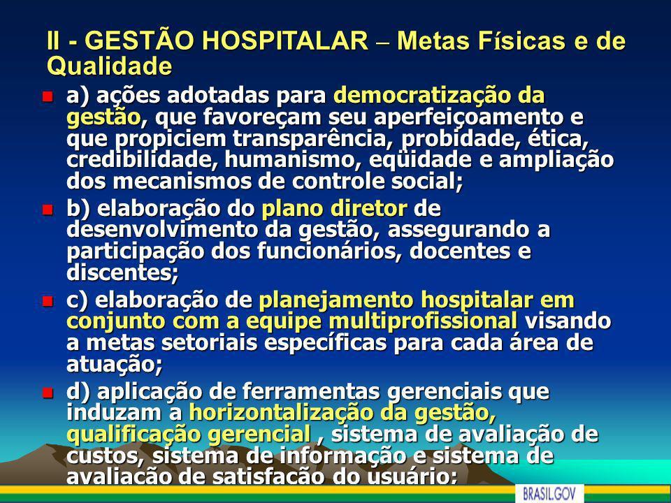 II - GESTÃO HOSPITALAR – Metas Físicas e de Qualidade