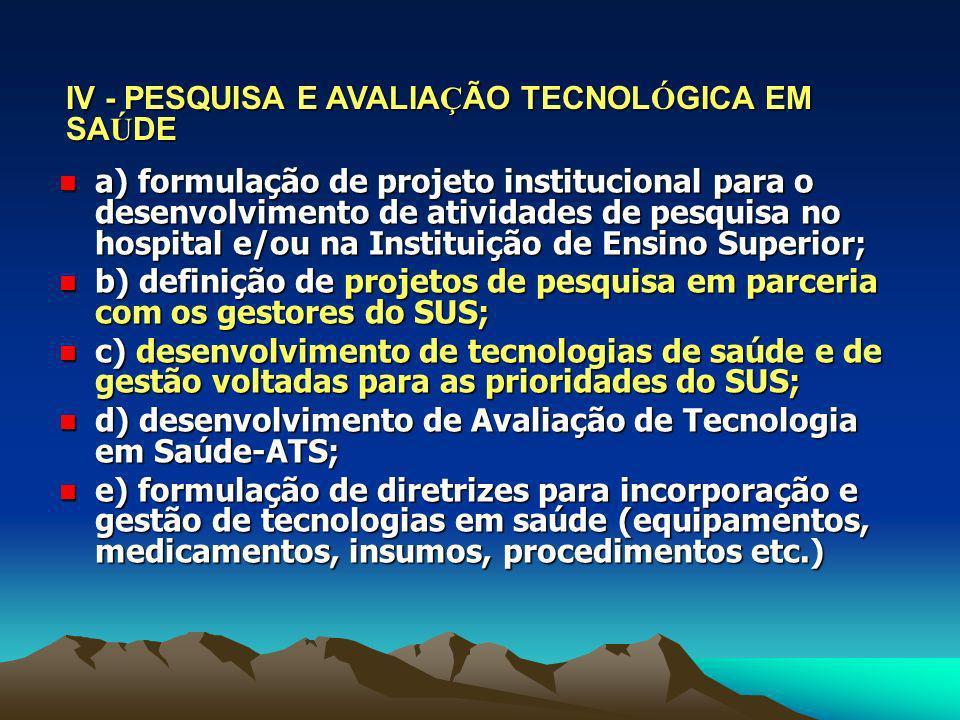 IV - PESQUISA E AVALIAÇÃO TECNOLÓGICA EM SAÚDE