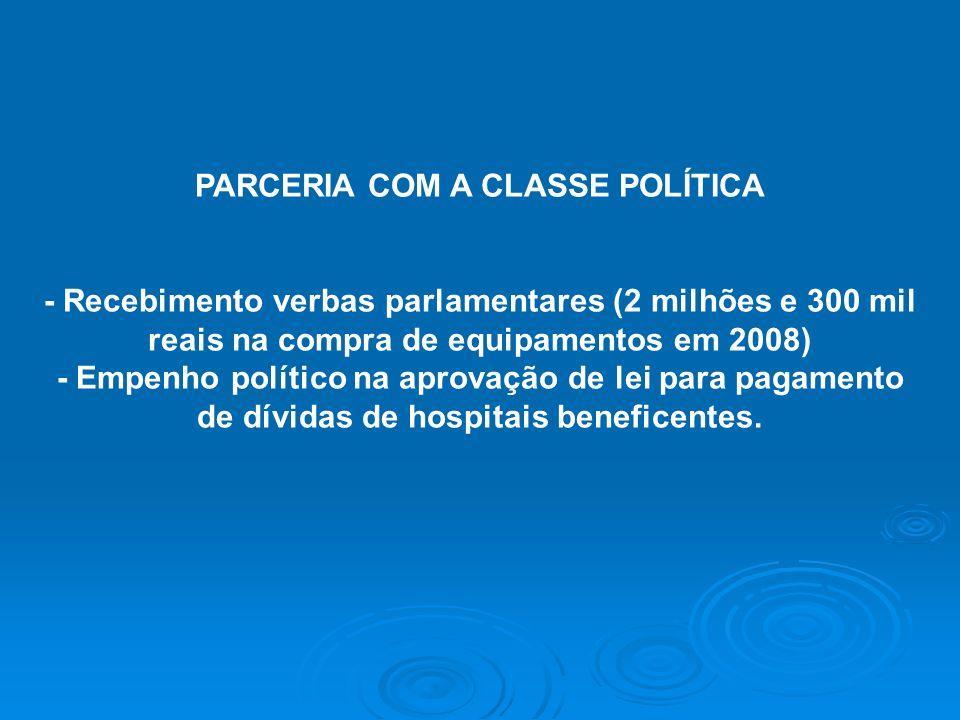PARCERIA COM A CLASSE POLÍTICA de dívidas de hospitais beneficentes.