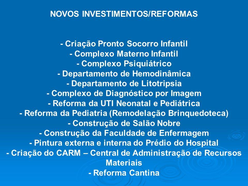 NOVOS INVESTIMENTOS/REFORMAS