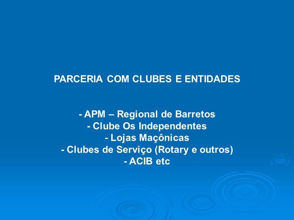 PARCERIA COM CLUBES E ENTIDADES