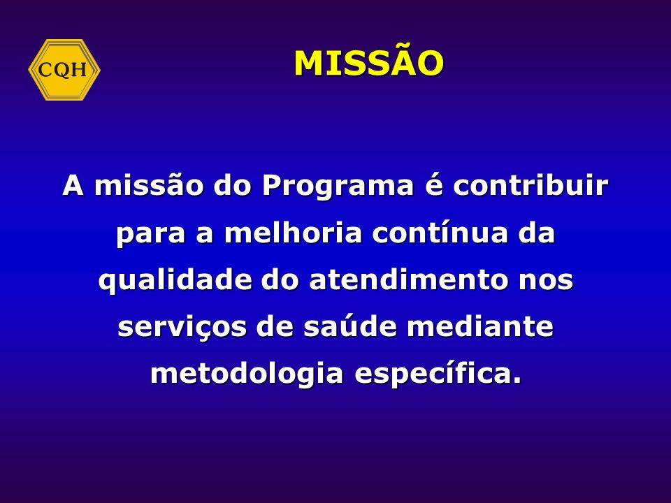 MISSÃO A missão do Programa é contribuir para a melhoria contínua da qualidade do atendimento nos serviços de saúde mediante metodologia específica.