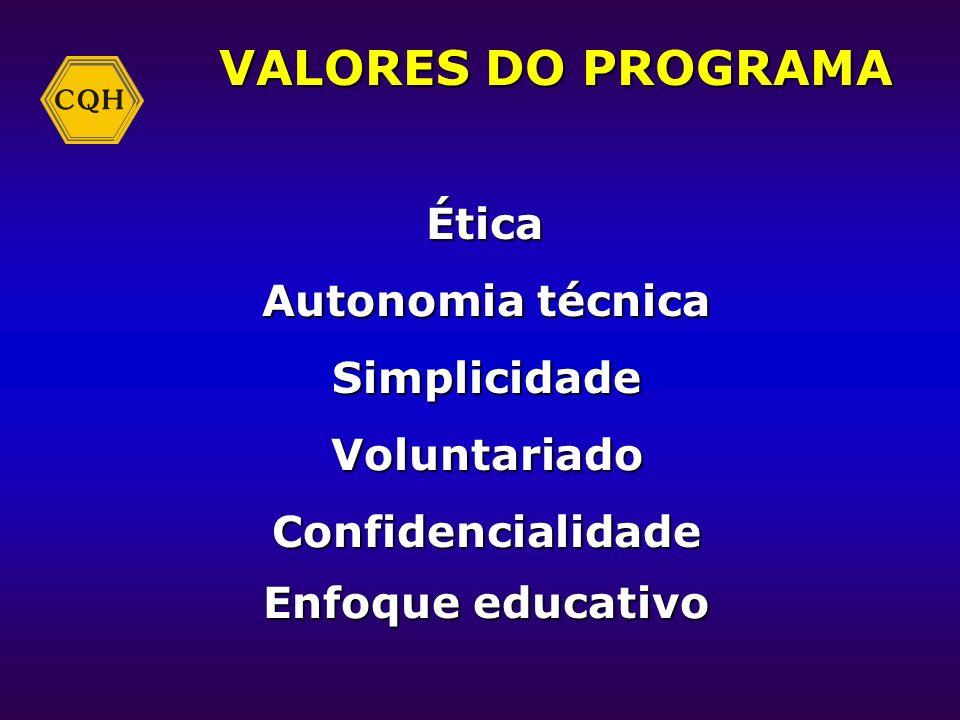 VALORES DO PROGRAMA Autonomia técnica Simplicidade Voluntariado