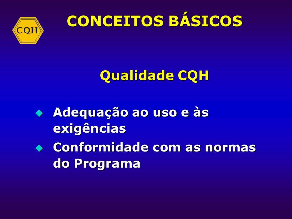 CONCEITOS BÁSICOS Qualidade CQH Adequação ao uso e às exigências