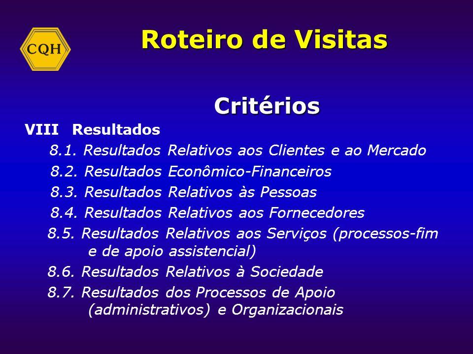 Roteiro de Visitas Critérios