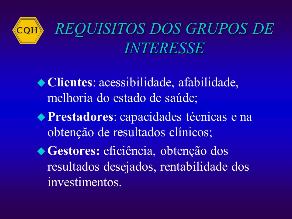 REQUISITOS DOS GRUPOS DE INTERESSE