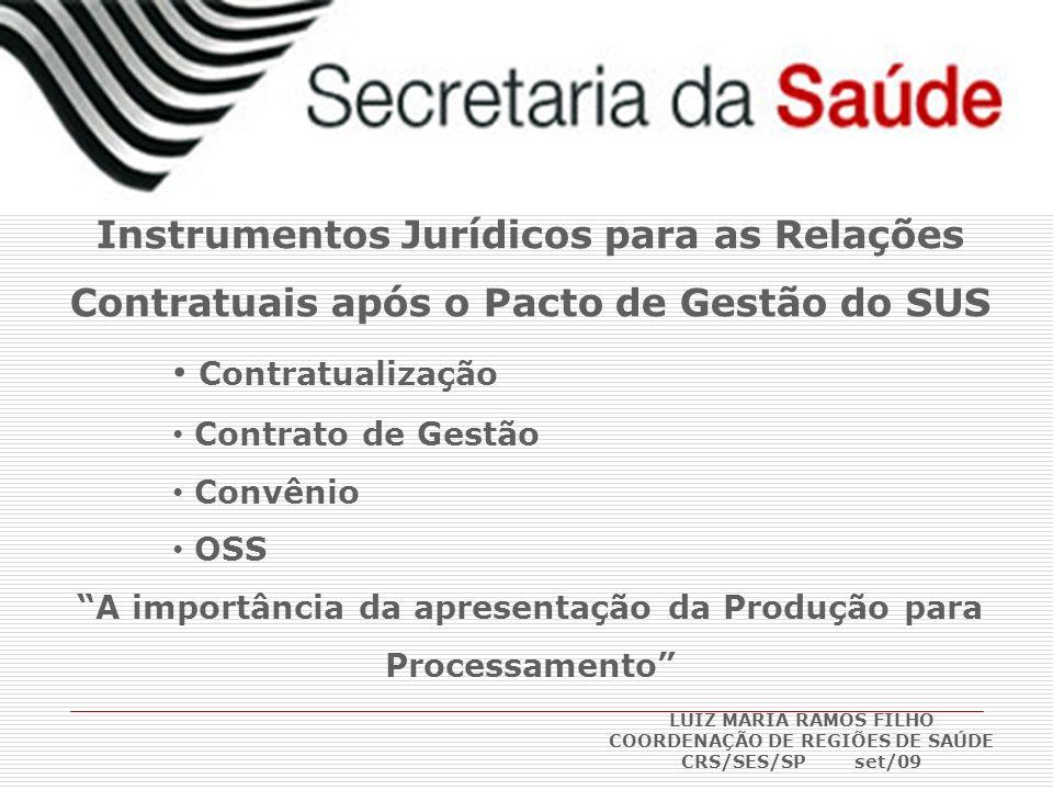 Instrumentos Jurídicos para as Relações Contratuais após o Pacto de Gestão do SUS