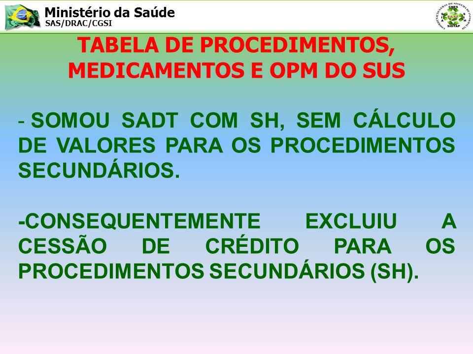 TABELA DE PROCEDIMENTOS, MEDICAMENTOS E OPM DO SUS