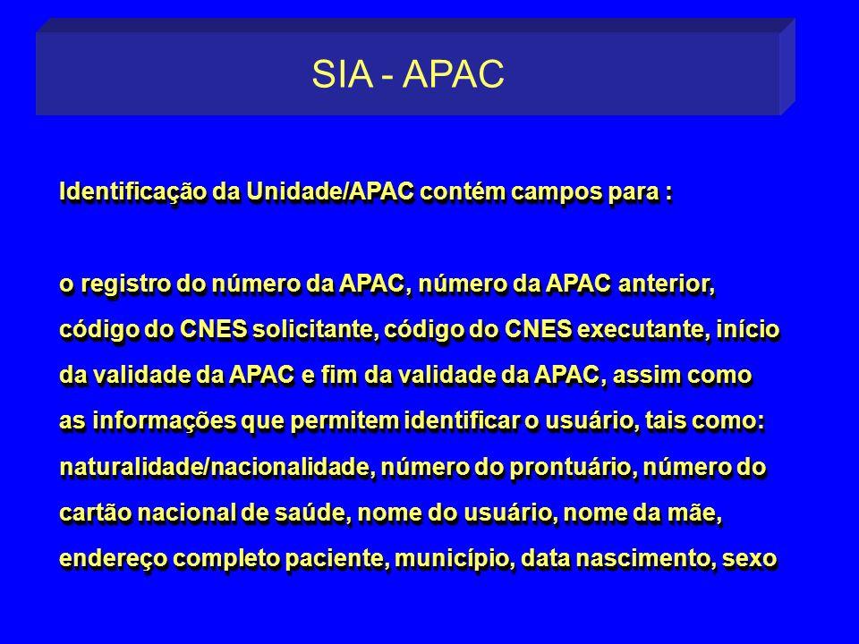 SIA - APAC Identificação da Unidade/APAC contém campos para :